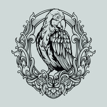 Tattoo And T Shirt Design Black And White Hand Drawn Illustration Macaw Bird Engraving Ornament
