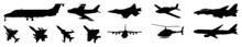 Modern Aircraft Silhouettes Collection. Planes Silhouette. Military And Civil Vector Aircraft Silhouettes Collection. Retro And Modern. Military, Passenger, Propeller And Business Aircraft Silhouettes