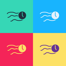 Pop Art Time Flies On The Clock Icon Isolated On Color Background. Vector