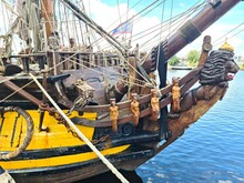 Wooden Figure On The Bow Of The Old Sailing Ship Standart Moored In The Latvian Capital Riga On July 7, 2021