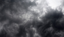 Dark Dramatic Storm Background With Gray And Black Clouds