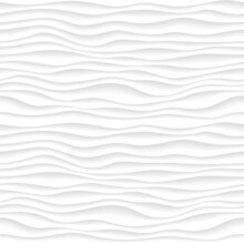 Abstract Gradient Pattern With Volumetrical Waves. Dunes 3d Relief, Interior Wall Decorative Panel. Curved Lines Background. White Surface Terrain Texture.  Vector Illustration.