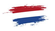 Hand Drawn Brush Stroke Flag Of Netherlands. Creative National Day Hand Painted Brush Illustration On White Background