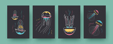 Collection Of Contemporary Art Posters With Colorful Medusas