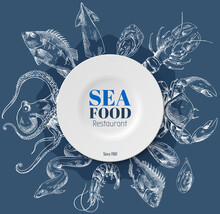 Composition Of Fish And Sea Food On Blue Background. Seafood Shop Or Restaurant, Template For Labels And Signboard. Vector Hand-drawn Illustration For Seafood Reastaurant Logo. Cooking Seafood Concept