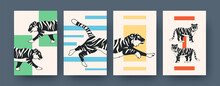 Set Of Contemporary Art Posters With Tiger Pattern
