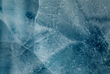 Ice Texture With Small Round Air Bubbles Trapped Inside