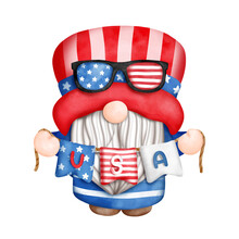 Digital Painting Watercolor 4th Of July Element With Gnome, Independence Day Element. Isolated On White Background