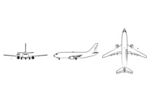 3d Aircraft Model Graphical From Three Directions With Black White Sketch. Linear Sketch.