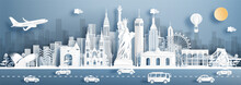 Panorama View New York City, United States Of America Skyline With World Famous Landmarks In Paper Cut Style Vector Illustration.