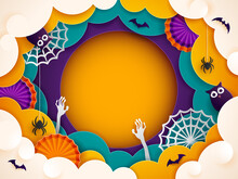Paper Graphic Of Happy Halloween Fun Party Celebration Cloud Border Background Design Halloween Elements. Wide Copy Space For Design.