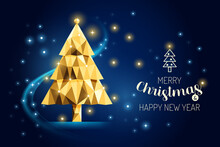 Wireframe Merry Christmas Tree Luxury Gold Geometry Concept Design.Vector Illustration.