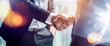 Leinwandbild Motiv Businessman handshake for teamwork of business merger and acquisition,successful negotiate,hand shake,two businessman shake hand with partner to celebration partnership and business deal concept