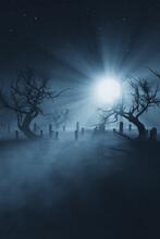 Moon Light In Dark Graveyard At Night