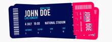 Concert Ticket Template. Concert, Party Or Festival Ticket Design Template. Illustration