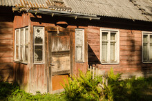 Old Wooden House With Hallway In Usma, Latvia.