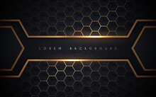 Abstract Dark Blue And Gold Hexagonal Background