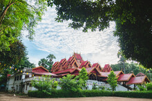 Old Burmese Temple Style With Blue Sky Background, In Thai Called Wat SiRong Muang Lampang Thailand