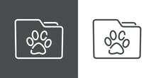 Expediente Veterinario. Icono Silueta De Carpeta Con Pisada De Animal Con Lineas En Fondo Gris Y Fondo Blanco