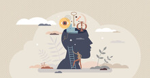 Philosophy Study As Learning About Moral And Ethics Tiny Person Concept. Traditional Historical Ideology Ideas Research And Education Vector Illustration. Knowledge And Curiosity As Explore Open Head.