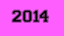 2014 Number Black Lettering Pink Rose Background
