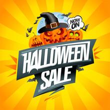 Halloween Sale Web Banner Vector Design With Evil Pumpkins And Moon