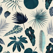 Fashionable Seamless Tropical Pattern With Blue Tropical Exotic Leaves On A Yellow Background. Beautiful Exotic Plants. Trendy Summer Hawaii Print.