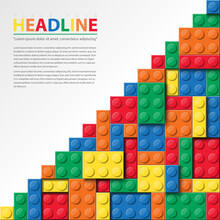 Banner Vector Toy Element With Colorful Block Bricks Toy Like Lego For Flyer, Poster, Web, Ads, And Social Media. Lego Brick Toy Template Design.