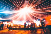 Defocus Christmas Market At Night