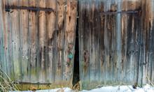 Old Wooden Abandoned Barn Door