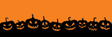 Black Pumpkins Silhouette. Halloween Banner Background With Jack O Lantern.