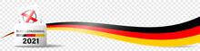 Bundestagswahl 2021 Deutschland. Wahlurne Mit Stimmzettel Und Kreuz. Illustration Vektor Banner Isoliert Auf Transparentem Hintergrund