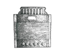 Image Of The Graphic Artist Of One Of The First Russian Harmonica (russ Тульская семиклапонка), Ideas For Decorating Tables, Diagrams, Stickers, Cards, Covers, Books On Musical And Historical Topics.