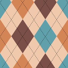 Classic Argyle Seamless Vector Pattern Background. Geometric Blue, Brown, Pink Backdrop. Overlay Of Intercrossing Lines On Solid Multicolor Diamond Shapes. Scottish Or Harlequin Inspired Repeat