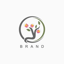 Logo Initials Letter Y With Flower And Leaf Ornament Concept For Boutique And Business Name