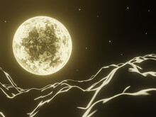 3D Night Yellow Moon And Mountain