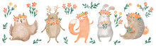 Forest Animals With Flowers And Leaves, Hand Drawn Digital Watercolor Children Illustration, Isolated On White Backgrownd, For Postcards, Invitations, Textile