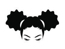 Abstract African Girl Clipart. Detailes Silhouette Of A Woman With Curly Hair.