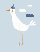 Cute Hand Drawn Nursery Vector Illustration With White Big Seagull On A Blue Background. Lovely Childish Style Art With Dreamy Bird In The Woolen Hat Ideal For Card, Poster, Wall Art. Animal Print.