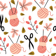 Cute Lovely Autumn Seamless Vector Pattern Background Illustration With Fall Leaves, Scissors And Yarn Balls