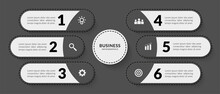 Dark Infographic With Six Optional, Outline Data Communication For Business Report