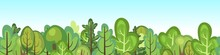 Flat Forest. Horizontal Seamless Composition. Cartoon Style. Tops Of Trees. Funny Green Rural Landscape. Level The Game. Comic Design. Cute Scene With Plants. Vector