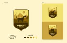 Wildlife Logo With Walking Horse, Outdoor Adventure Concept