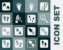 Set Human Footprints Shoes, Paw Search, Bear Paw, Magnifying Glass With Footsteps, Rabbit And Hare, Horse And Icon. Vector