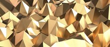 Gold Abstract Mosaic Background, Gold Polygon Background, Abstract Background