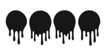 Dripping Oil Blob. Drip Drop Paint Or Sauce Stain Drips. Black Drippings Sauces Round Spots Vector Set