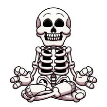 Cartoon Meditating Skeleton