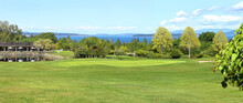 Panoramic Scenic Golf Course At Victoria, Canada. On A Beautiful Spring Day. Vancouver Island Is Temperate Enough For Year Round Golfing.