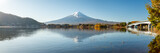 Fototapeta Nowy Jork - Mount Fuji and Lake Kawaguchi panorama, Yamanashi Prefecture, Japan