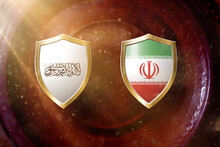 Taliban And Iran Flag In Golden Shield On Copper Texture Background.